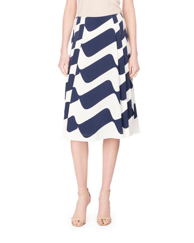 Wave-Print Pleated Midi Skirt, Blue/White