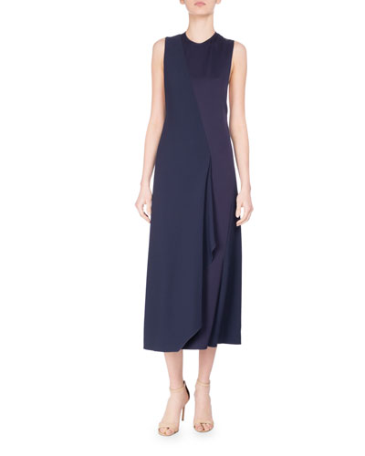 Bias-Cut Two-Tone Sleeveless Midi Dress, Blue