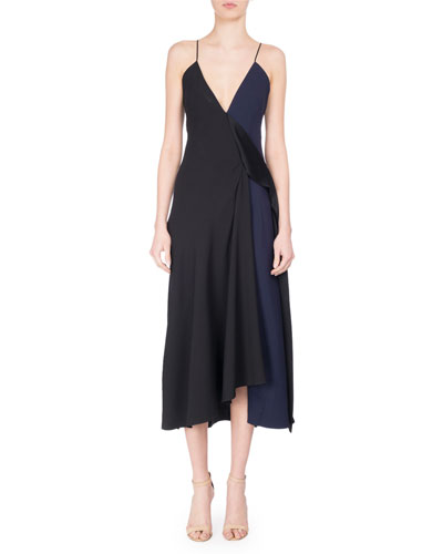 V-Neck Two-Tone Bias-Cut Midi Dress, Black/Blue
