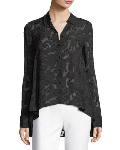 Burnout Floral Button-Down Blouse