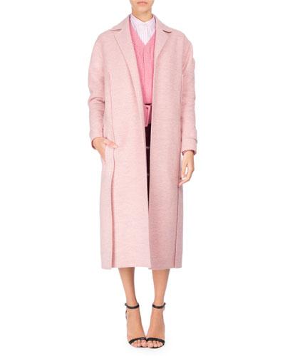 Virgin Wool Open-Front Duster Coat, Light Pink