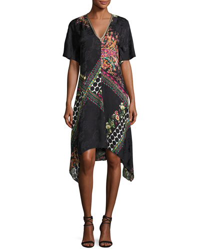 Etro Mixed Print Short Sleeve Silk Dress Black In Multicoloured
