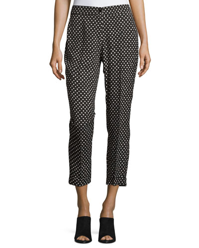 Dot-Print Slim Cropped Pant, Black/White Pattern
