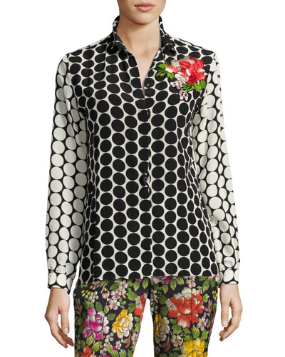 Floral-Embroidered Silk Dot Blouse, Black