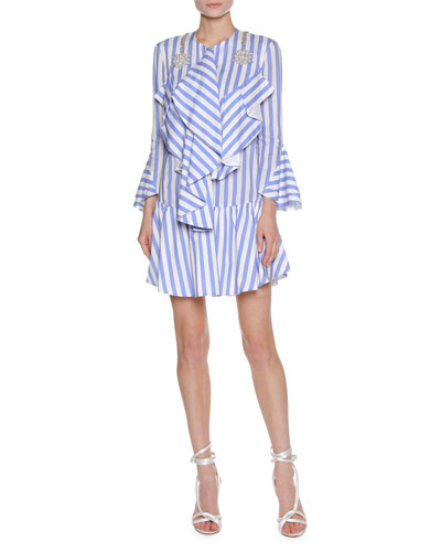 Striped Ruffle Dress with Embellished Shoulders, White/Blue