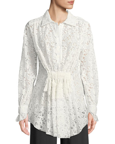 Long-Sleeve Gathered-Waist Floral Lace Blouse