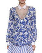 Floral-Print Blouse with Lace Inset, White/Blue