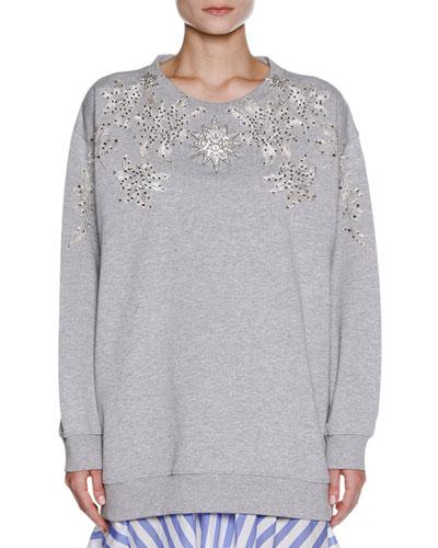 Embellished Oversize Sweatshirt, Gray