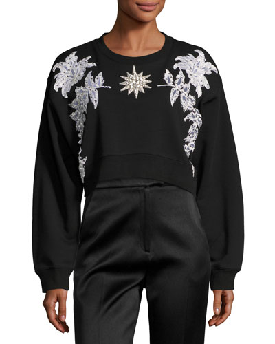 Floral Embellished Cropped Cotton Sweatshirt, Black