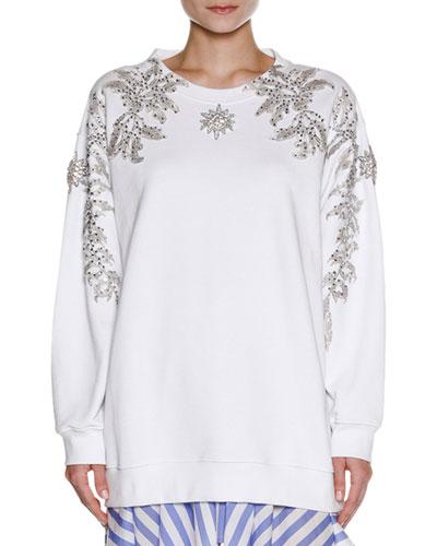 Embellished Oversize Sweatshirt, White