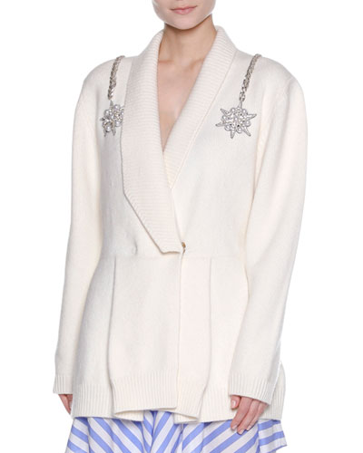 Embellished-Shoulder Drape-Collar Cardigan, White