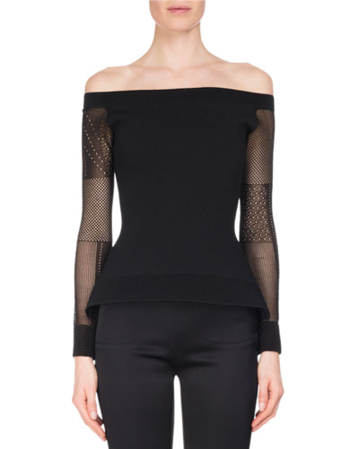 Leafield Lace-Sleeve Sculpted Knit Off-the-Shoulder Top, Black