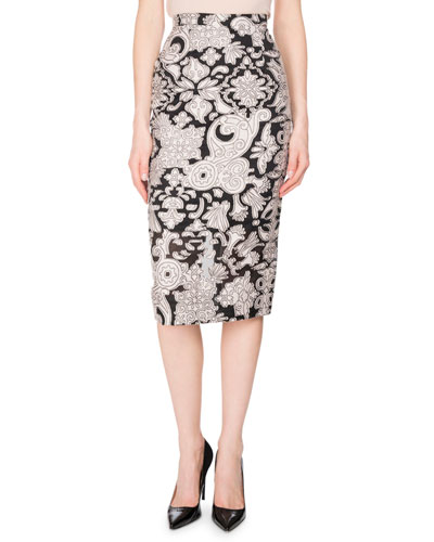 Norley Brocade Fil Coupé Pencil Skirt, Pink/Black