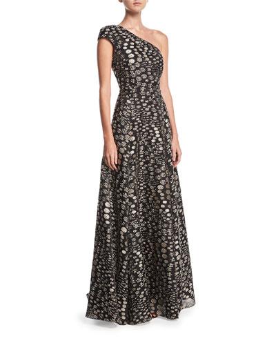 Hampstead One-Shoulder Floral Fil Coupé Evening Gown