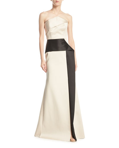 Addover Strapless Two-Tone Peplum Evening Gown, Pink/Black