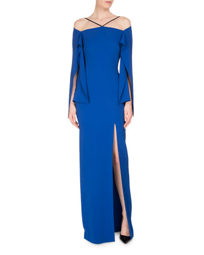 Cheveley Flutter-Sleeve Strappy Evening Gown