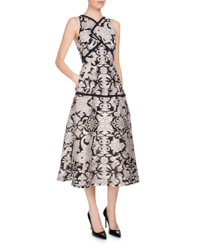 Letwell Sleeveless Brocade Fil Coupé Midi Dress