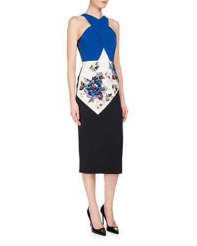 Maxton Floral-Embroidered Colorblock Halter Dress