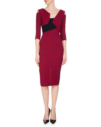 Kiverton Colorblock Cold-Shoulder Sheath Dress, Red/Black