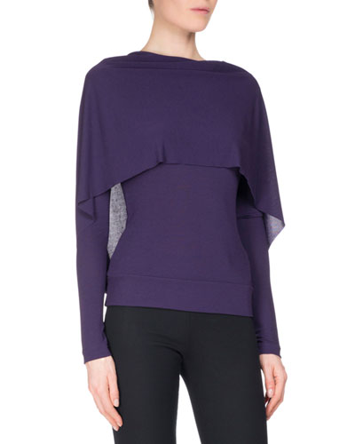 Bagnet Cowl-Neck Long-Sleeve Top, Dark Purple