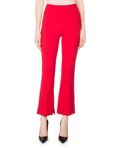 Goswell Crepe Slim Cropped Boot-Cut Pants, Rose
