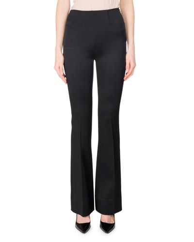 Citadel Silk-Satin Slim Boot-Cut Pants