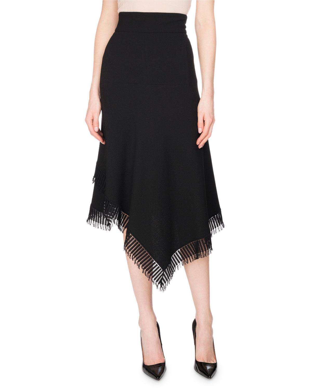 Tarring Fringe Handkerchief Midi Skirt, Black