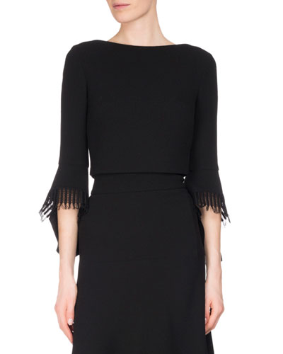 Liverton Fringe 3/4-Sleeve Crop Top, Black