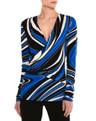 Wave-Print Long-Sleeve Wrap Top