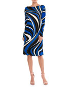 Marylin Wave-Print Long-Sleeve Dress