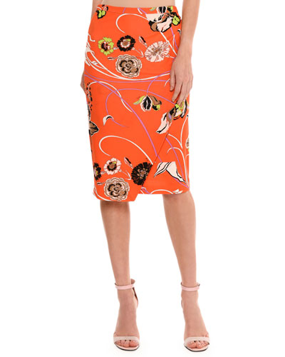 Floral-Print Mock-Wrap Skirt, Multicolor