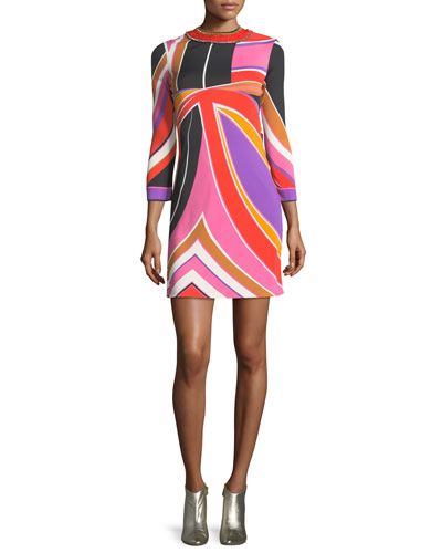 Embroidered Abstract-Print Minidress