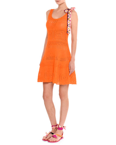 Sleeveless Crochet Fit & Flare Dress, Orange