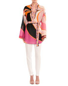 Dragonfly Long-Sleeve Belted Tunic Top