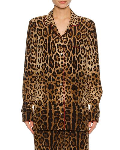 Leopard-Print Silk Pajama Shirt, Leopard