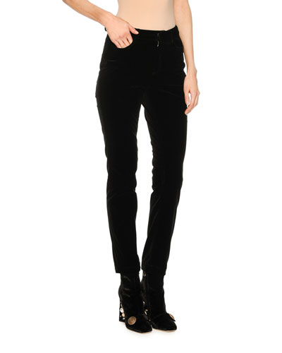 Velvet Straight-Leg Pants, Black
