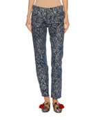 Baroque Scroll-Print Denim Jeans, Blue/Silver