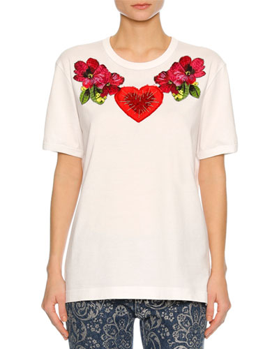 Heart & Floral Embroidered T-Shirt, White