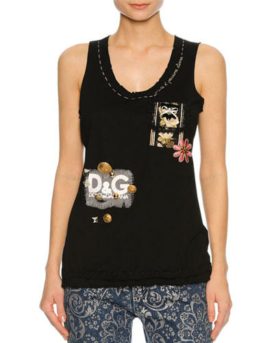 Embellished Raw-Edge Tank Top, Black