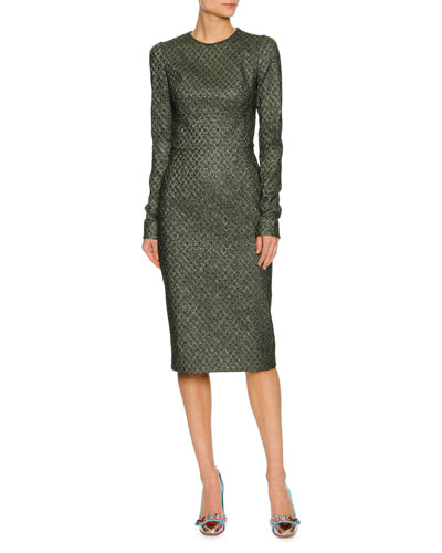 LONG-SLEEVE GEOMETRIC LAMÉ JACQUARD COCKTAIL DRESS, GREEN