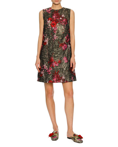 Sleeveless Bouquet Jacquard Shift Dress, Multi