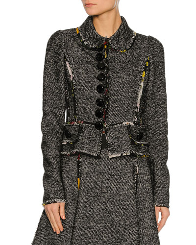 Chiffon-Trim Tweed Jacket, Gray