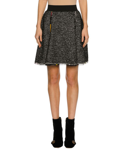 Chiffon-Trim Tweed Skirt, Gray