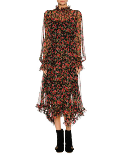 Rose-Print Chiffon Midi Dress, Black