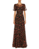 Rose-Print Chiffon Short-Sleeve Gown, Black