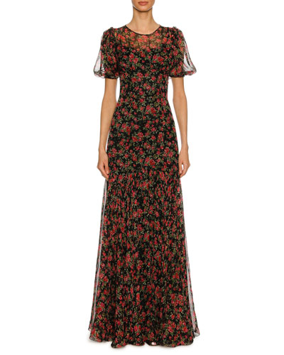 Rose-Print Chiffon Short-Sleeve Gown, Black