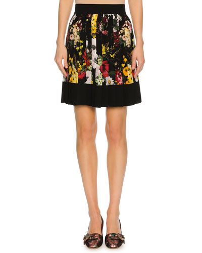Floral Bouquet Pleated Miniskirt, Black