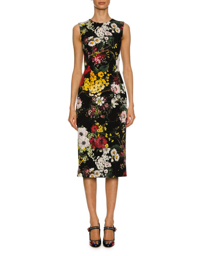 Sleeveless Bouquet-Print Charmeuse Cocktail Dress, Black Pattern
