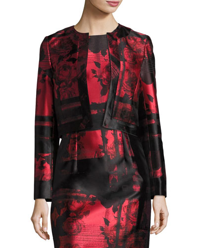 Floral & Stripe Open-Front Cropped Jacket, Red/Black