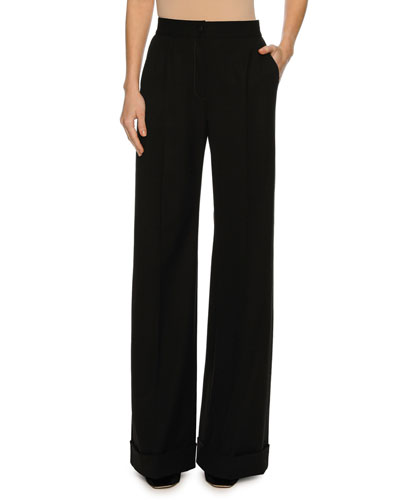 Cuffed Wide-Leg Pants, Black